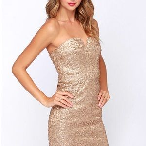 BARIANO AVA STRAPLESS GOLD SEQUIN DRESS!